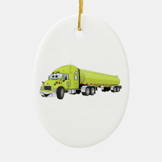 Semi Truck Light Green Tanker Truck Cartoon Ceramic Ornament