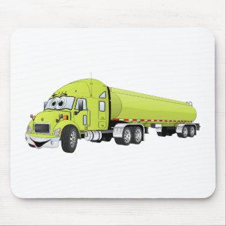 Semi Truck Light Green Tanker Truck Cartoon Mouse Pad