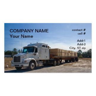 semi truck lumber  transport business card templates