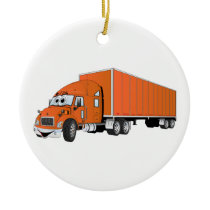 Semi Truck Orange Trailer Cartoon Ceramic Ornament