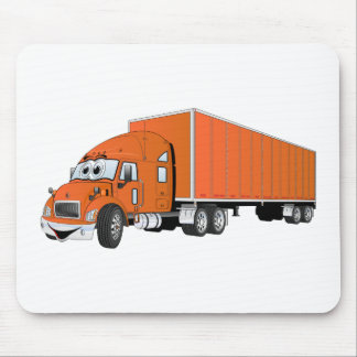 Semi Truck Orange Trailer Cartoon Mouse Pad