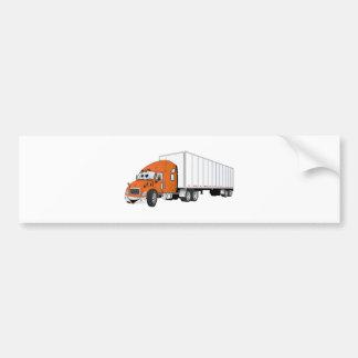 Semi Truck Orange White Trailer Cartoon Bumper Sticker