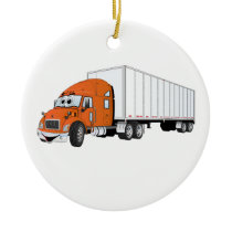 Semi Truck Orange White Trailer Cartoon Ceramic Ornament