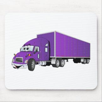 Semi Truck Purple Trailer Cartoon Mouse Pad