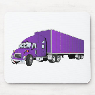 Semi Truck Purple Trailer Cartoon Mouse Pad