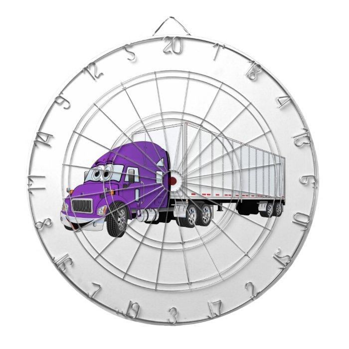 Semi Truck Purple White Trailer Cartoon Dart Board