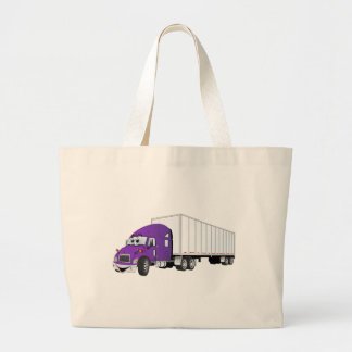 Semi Truck Purple White Trailer Cartoon Large Tote Bag