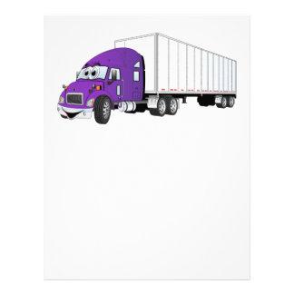 Semi Truck Purple White Trailer Cartoon Letterhead