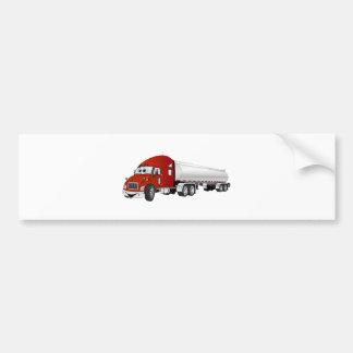 Semi Truck Red Silver Tanker Trailer Cartoon Bumper Sticker