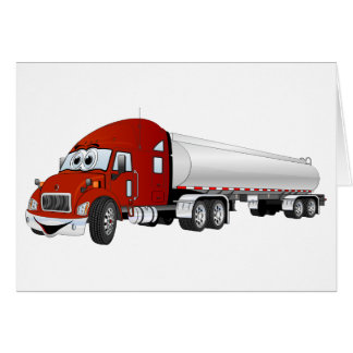 Semi Truck Red Silver Tanker Trailer Cartoon Card
