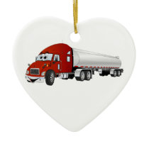 Semi Truck Red Silver Tanker Trailer Cartoon Ceramic Ornament