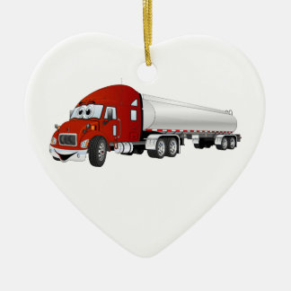 Semi Truck Red Silver Tanker Trailer Cartoon Ceramic Ornament