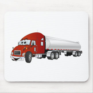 Semi Truck Red Silver Tanker Trailer Cartoon Mouse Pad