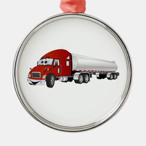 Semi Truck Red Silver Tanker Trailer Cartoon Christmas Tree Ornaments