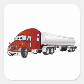 Semi Truck Red Silver Tanker Trailer Cartoon Square Sticker
