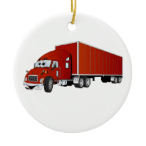 Semi Truck Red Trailer Cartoon Ceramic Ornament