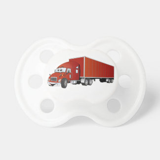 Semi Truck Red Trailer Cartoon Pacifier
