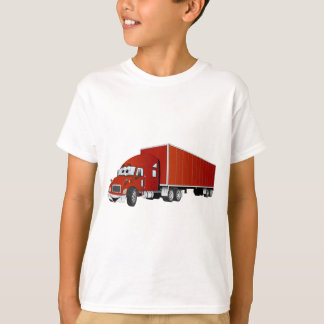 Semi Truck Red Trailer Cartoon T-Shirt