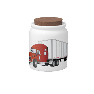 Semi Truck Red White Trailer Cartoon Candy Jars