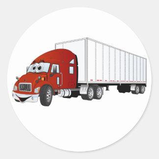 Semi Truck Red White Trailer Cartoon Classic Round Sticker