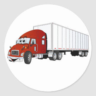 Semi Truck Red White Trailer Cartoon Classic Round Sticker