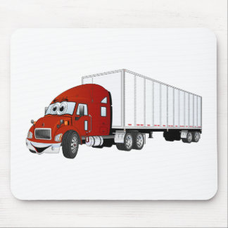 Semi Truck Red White Trailer Cartoon Mouse Pad