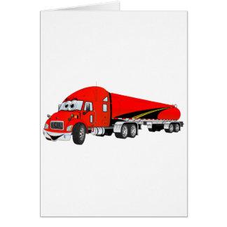 Semi Truck Roadway Tanker Red Cartoon Card