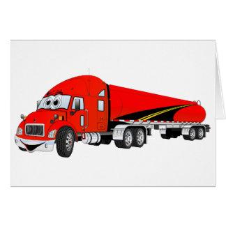 Semi Truck Roadway Tanker Red Cartoon Greeting Cards