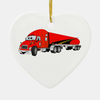 Semi Truck Roadway Tanker Red Cartoon Ceramic Ornament