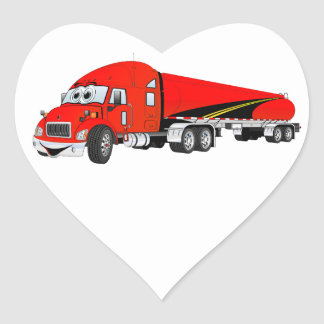 Semi Truck Roadway Tanker Red Cartoon Heart Sticker