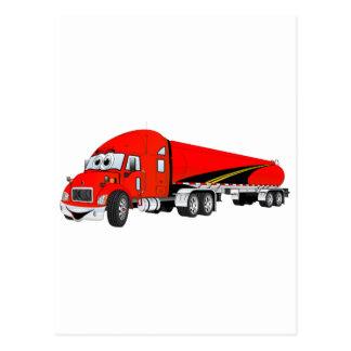 Semi Truck Roadway Tanker Red Cartoon Postcard