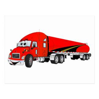 Semi Truck Roadway Tanker Red Cartoon Postcards