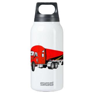 Semi Truck Roadway Tanker Red Cartoon Thermos Bottle