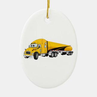Semi Truck Roadway Tanker Yellow Cartoon Ceramic Ornament