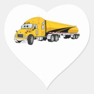 Semi Truck Roadway Tanker Yellow Cartoon Heart Sticker