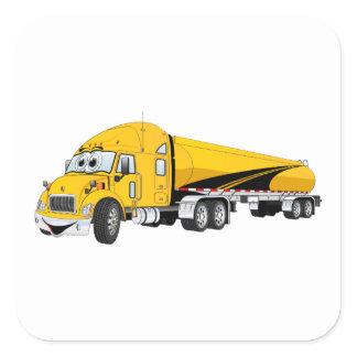 Semi Truck Roadway Tanker Yellow Cartoon Square Sticker