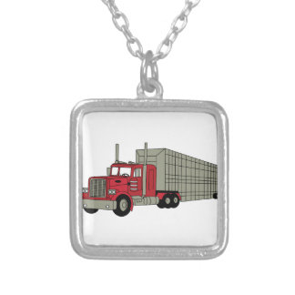 Semi Truck Silver Plated Necklace