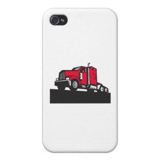 Semi Truck Tractor Low Angle Retro iPhone 4 Cover