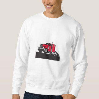 Semi Truck Tractor Low Angle Retro Sweatshirt