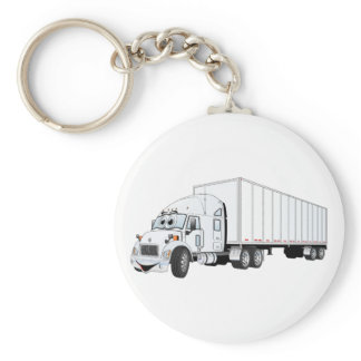 Semi Truck White Trailer Cartoon Keychain