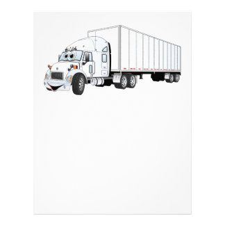 Semi Truck White Trailer Cartoon Letterhead