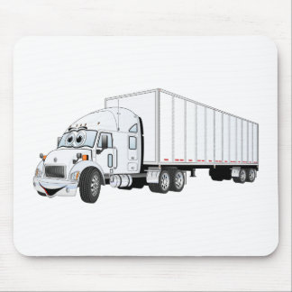 Semi Truck White Trailer Cartoon Mouse Pad