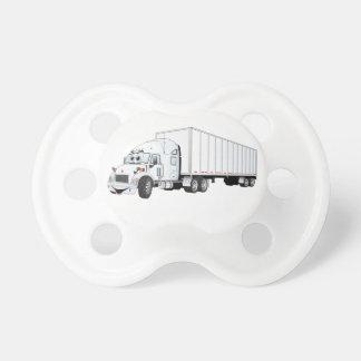 Semi Truck White Trailer Cartoon Pacifier