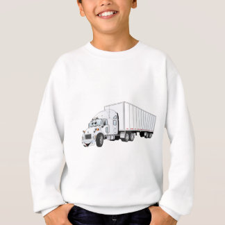 Semi Truck White Trailer Cartoon Sweatshirt