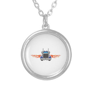 SEMI TRUCK WITH FLAMES NECKLACES