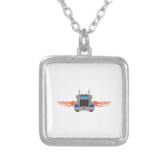 SEMI TRUCK WITH FLAMES PERSONALIZED NECKLACE