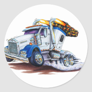 Semi Truck with Sleepercab Classic Round Sticker