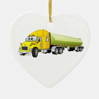 Semi Truck Yellow Green Tanker Trailer Cartoon Ceramic Ornament
