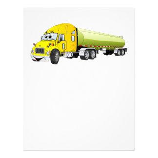 Semi Truck Yellow Green Tanker Trailer Cartoon Letterhead