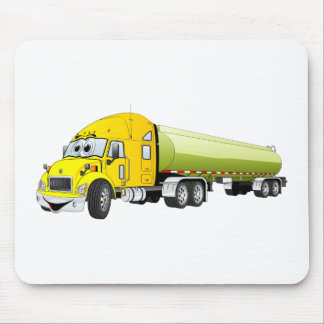 Semi Truck Yellow Green Tanker Trailer Cartoon Mouse Pad